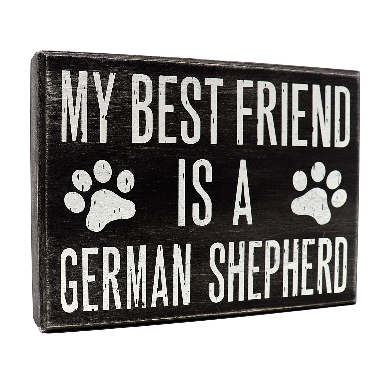 JennyGems - My Best Friend is a German Shepherd - Wooden Stand Up Box Sign - German Shepherd Moms Gift Series - German Shepherd Decor Signs - Rustic Farmhouse Box Sign, Shelf Knick Knacks,