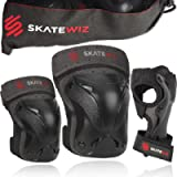 SKATEWIZ Protect-1 Skateboard Accessories Skate [6pcs] Elbow Pads Knee Pads for Women and Men - Elbow and Knee Pads Kids…