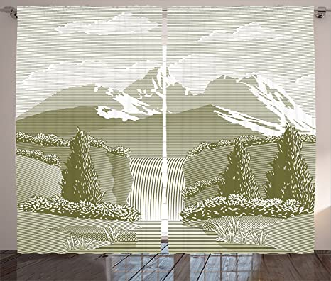 Amazon Com Lunarable Waterfall Curtains Woodcut Style Mod Illustration Of Mountain Stream And Waterfall Paradise Art Living Room Bedroom Window Drapes 2 Panel Set 108 X 63 Sage Green Home Kitchen