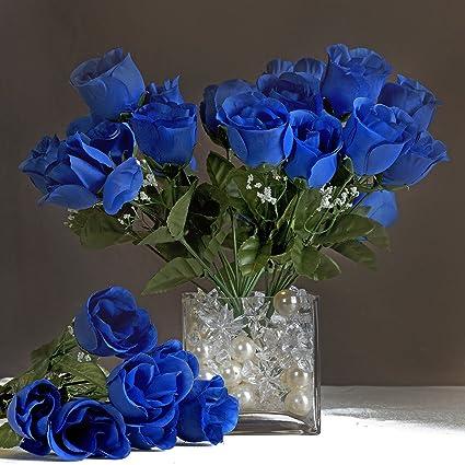 Amazon balsacircle 84 royal blue silk rose buds 12 bushes balsacircle 84 royal blue silk rose buds 12 bushes artificial flowers wedding party centerpieces mightylinksfo