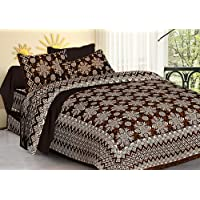 Jaipuri Bedspreads 100% Cotton Authentic Rajasthani Print King Size Double Bedsheets with 2 Pillow Covers