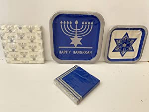 Happy Hanukkah 8 Person Disposable Table Setting