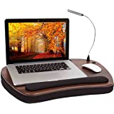 Sofia + Sam Oversized Memory Foam Lap Desk with detachable USB Light (Black) | Supports Laptops Up To 20 Inches
