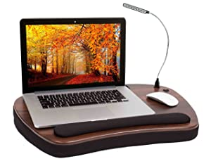 Sofia + Sam Oversized Memory Foam Lap Desk with Detachable USB Light (Black) - Supports Laptops Up to 20 Inches