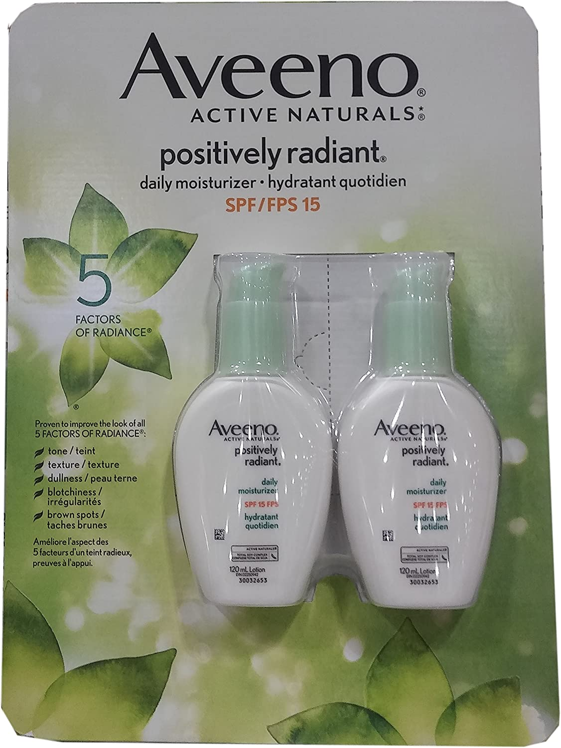 2 x Aveeno Active Naturals Positively Radiant daily moisturizer, SPF/FPS 15, 120ml
