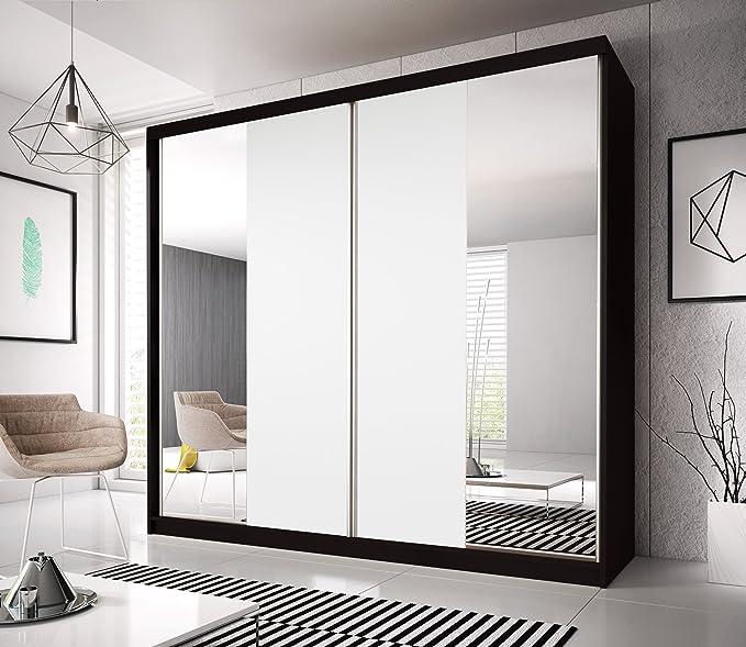 Hermoso armario para puerta corredera de 7 pies 8 (233 cm) MULTI F13 todos los blancos dos tipos de espejos, puertas intercambiables, se puede decorar sobre el efecto final, 4 colores a