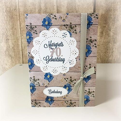 Einladung Einladungskarte Blumen Holz Shabby Runder Geburtstag 20 30