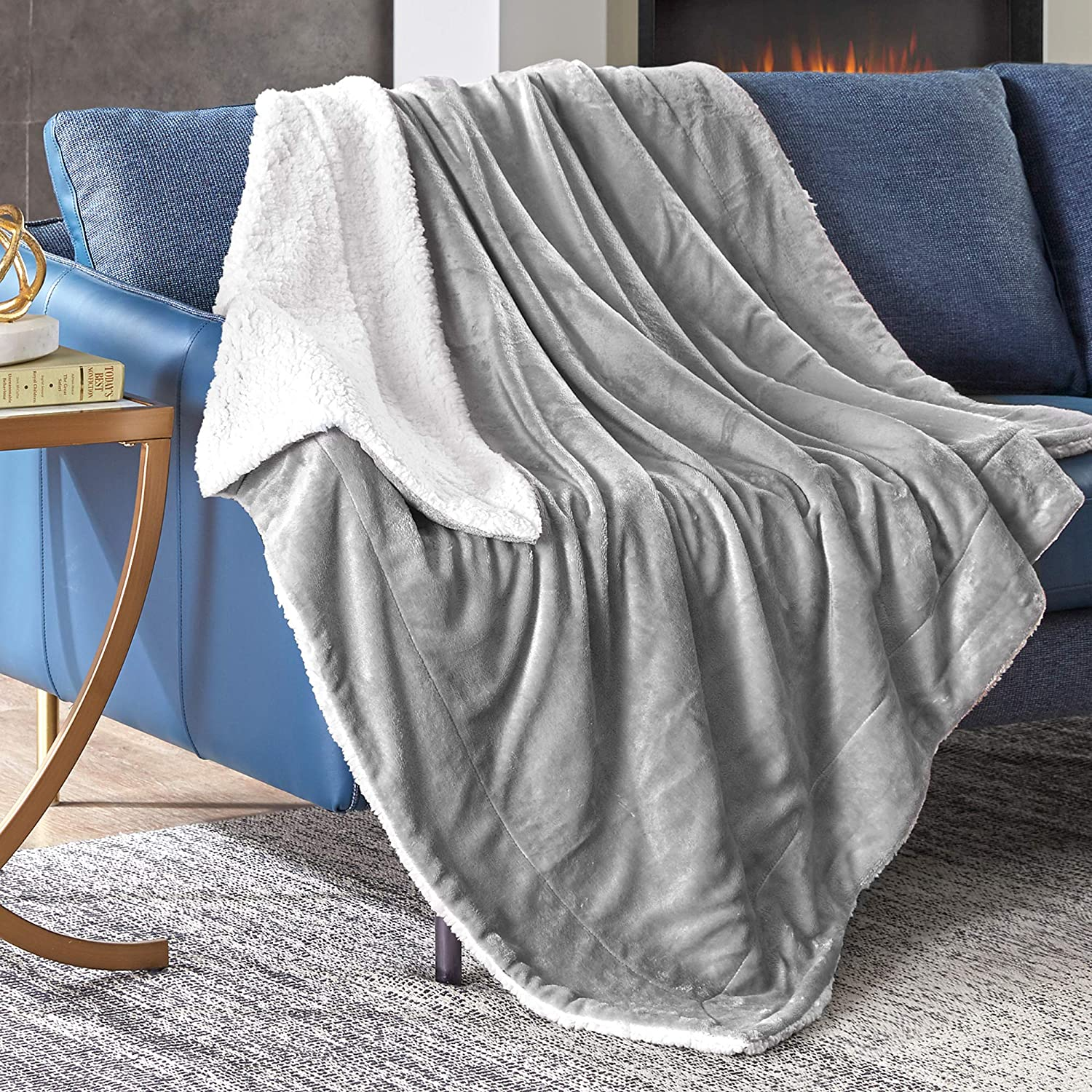 Hyde Lane Comfy Sherpa Throw Blankets for Couch and Bed | 2 Way Reversible - Sherpa Fleece & Plush Berber - Soft Throw Blanket Adults Size with Fuzzy Faux Fur (Grey, 50 x 60)