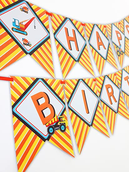 Construction Party Happy Birthday Banner