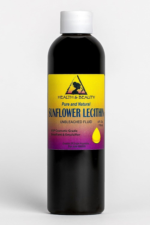 Lecithin Sunflower Unbleached Fluid Liquid Emulsifier Emollient Stabilizer Pure 4 oz, 118 ml H&B OILS CENTER Co.