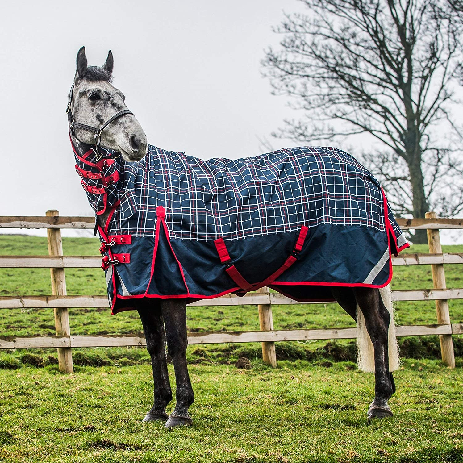 Dress bluee High Risk Red White 5ft6 Dress bluee High Risk Red White 5ft6 Derby House Elite Lightweight Checked Combo Turnout Rug