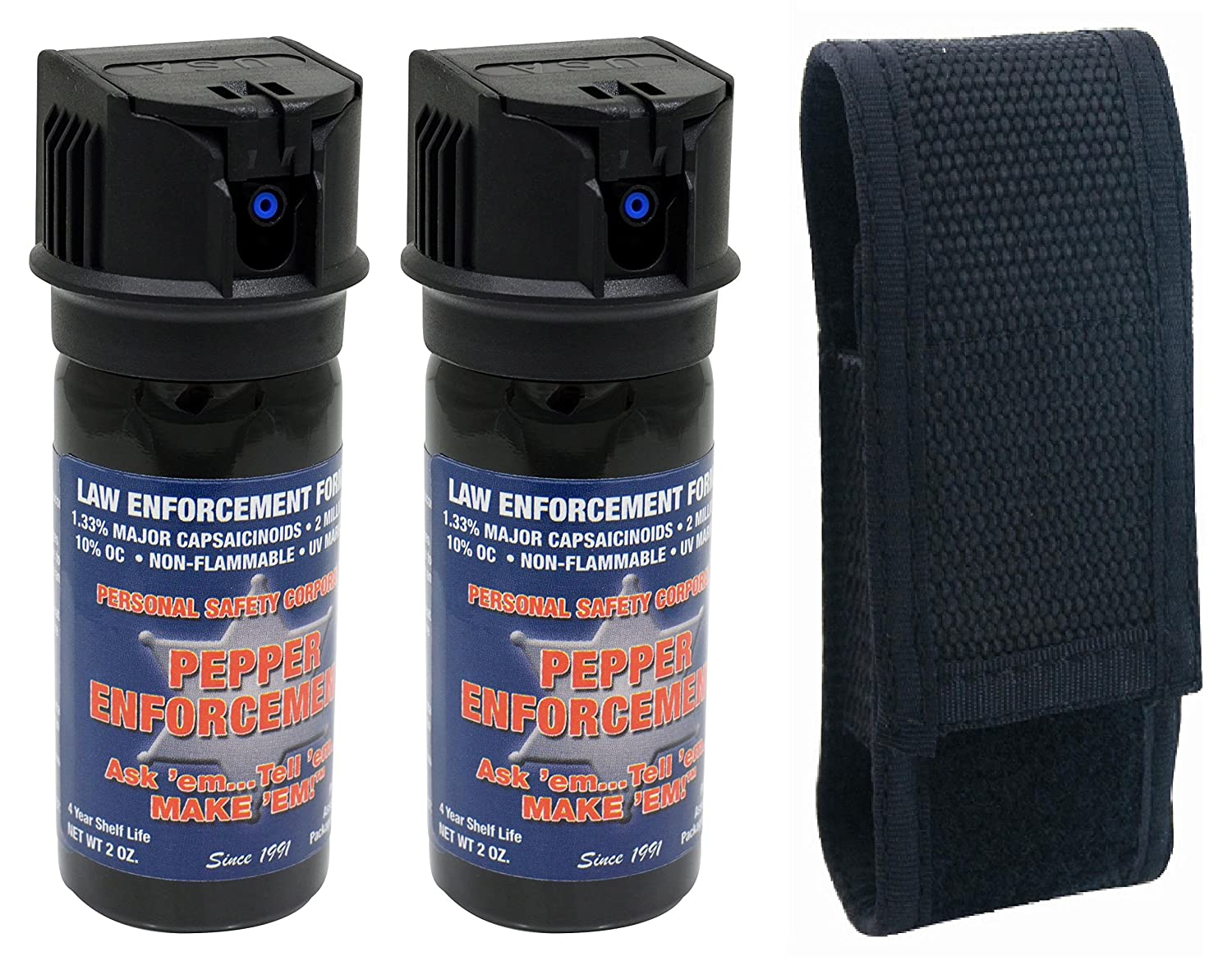 Pepper Enforcement Splatter Stream Police Grade 10 OC Pepper Spray – Max Strength Law Enforcement Formula – Flip Top Canister – 4 Year Shelf Life 2-Pack w Belt Loop Holster