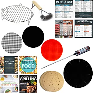 Air Fryer Toaster Oven Tray Accessory Kit Compatible With Ninja, Power Airfryer Oven, Costway, Maxi-Matic, Chefman, Chulux, Costzon +More | Parchment Paper Sheets + Cooking Guide Reference Magnets