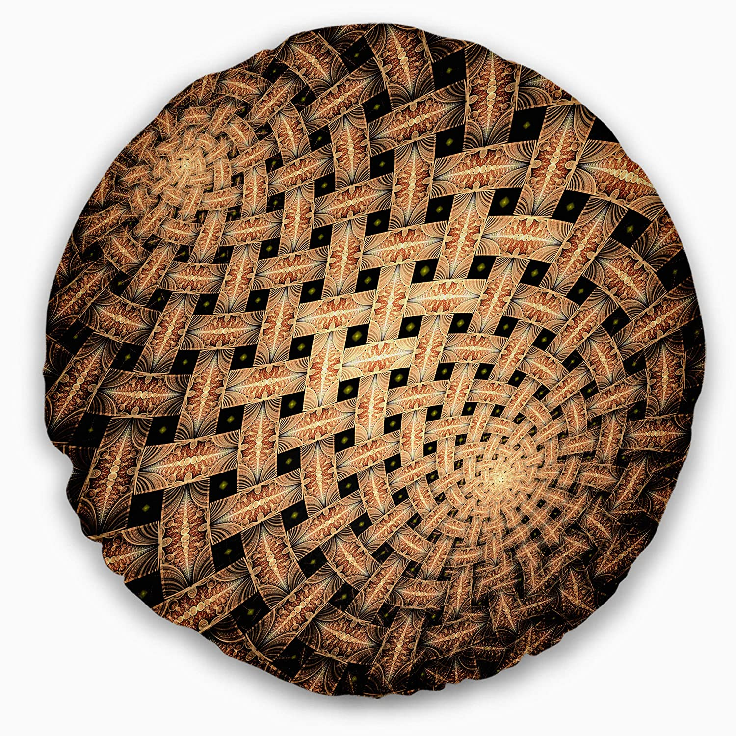 Designart CU16467-16-16-C Symmetrical Brown Fractal Flower' Abstract Round Cushion Cover for Living Room, Sofa Throw Pillow 16 Inches, Insert Printed on Both Side