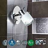 Applique murale avec décalage de traction I plafonnier led I spot pivotant I éclairage intérieur moderne I blanc chaud I lumière pour salle de bain cuisine salon I GU10 I 230 V I IP44 I 1 x 5 W