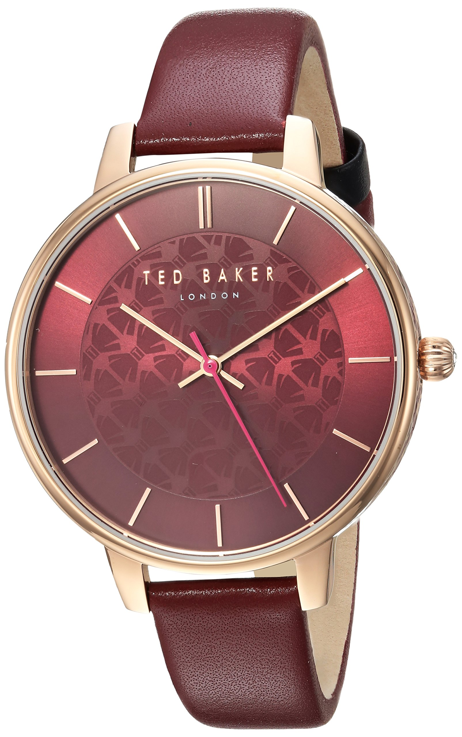 Ted Baker Women's 'KATE' Quartz Stainless Steel and Leather Casual Watch, Color:Red (Model: TEC0025017)