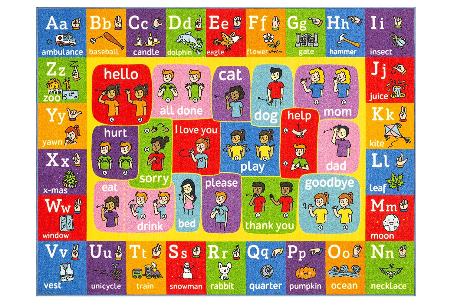Colorful rug with the ASL alphabet in graphics.