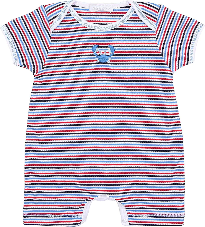 Magnolia Baby Unisex Baby Crabfest Emb Short Playsuit Navy