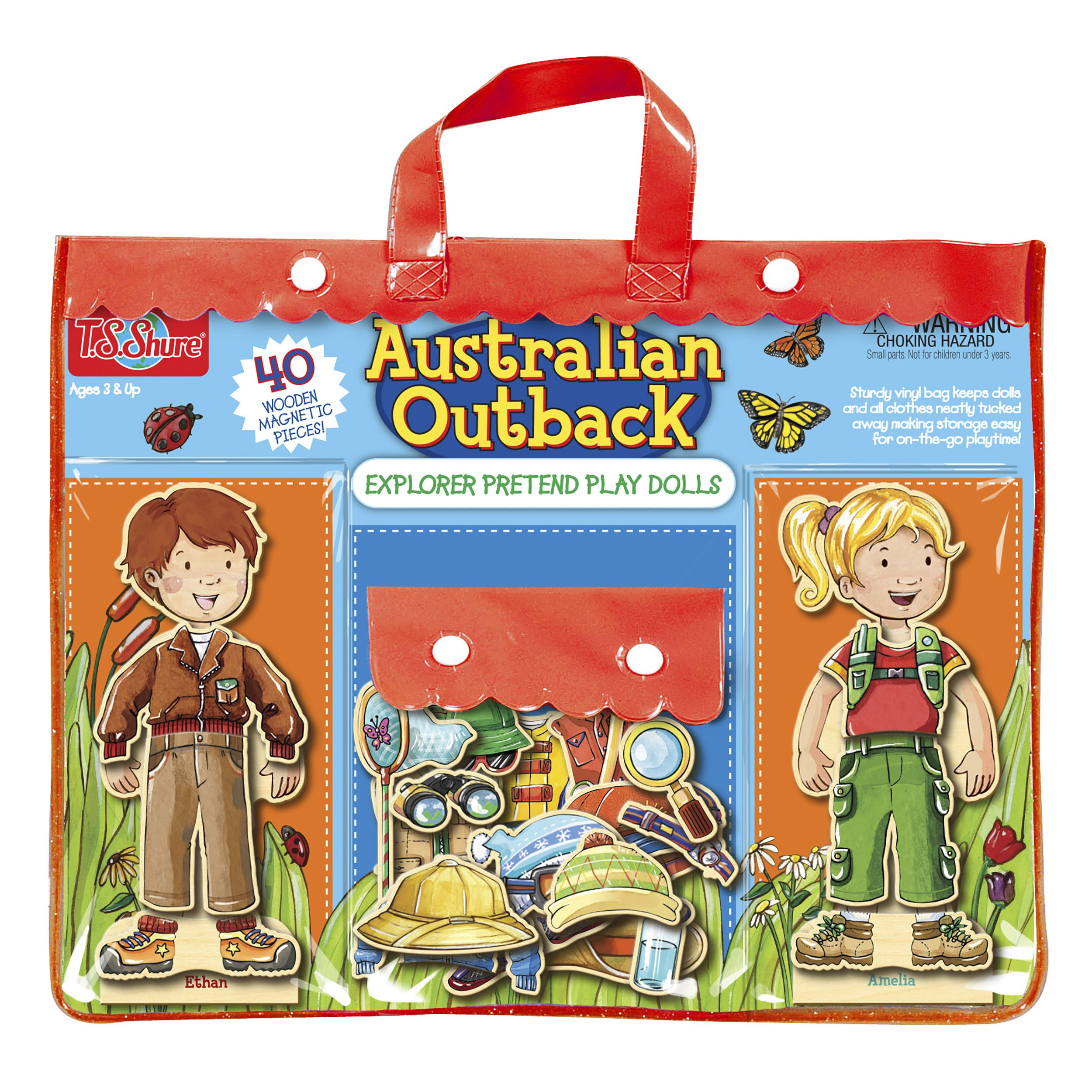 T.S. Shure Australian Outback Explorers Wooden Magnetic Pretend Play Dolls