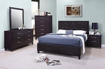 Amazon.com: GTU Furniture 5PC Queen Size Dark Walnut Faux ...
