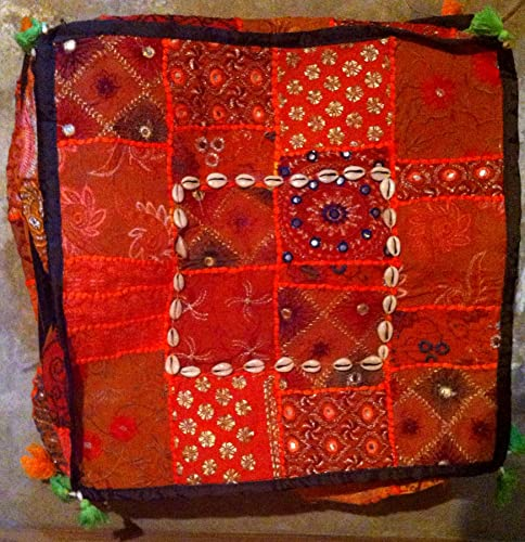 Essential Ethnics Vintage Ethnic Bohemian Patchwork Square Pouf Ottoman, Foot Stool or Extra Seating 17 Wide X 12 High Bright Orange
