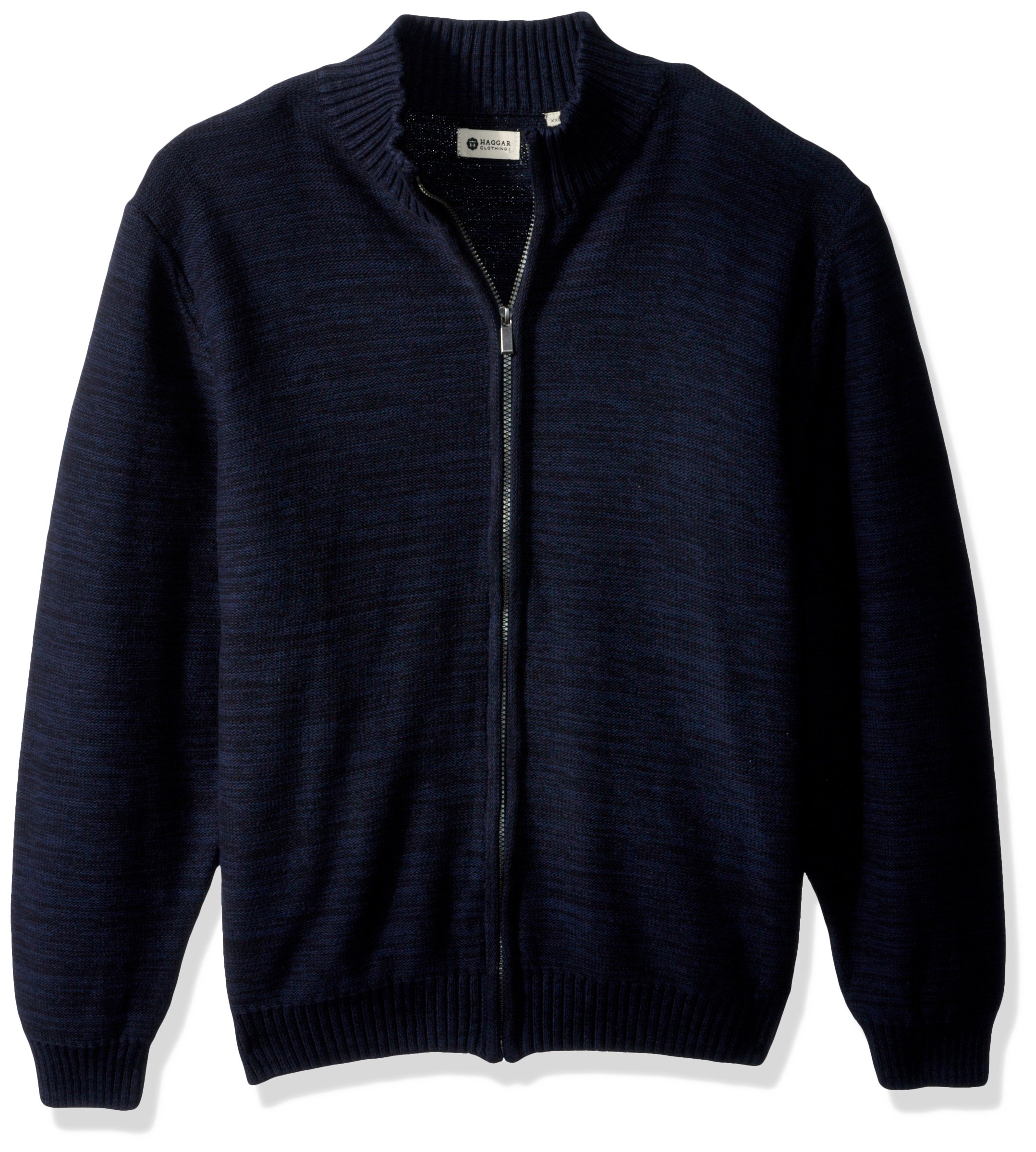 Haggar Men's Reverse Jersey Mechanical Marl Full Zip Sweater, Coast Marl, M