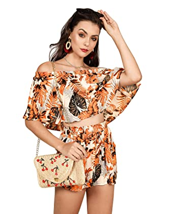 9321fb1f8 Amazon.com: imesrun Womens Summer Floral Two Pieces Outfits Off Shoulder  Ruffle Top and Short Rompers: Clothing
