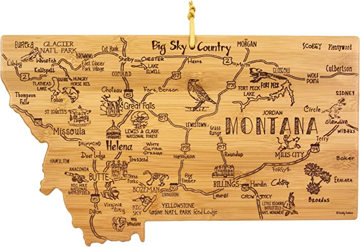 Totally Bamboo Montana State Destination Bamboo Serving and Cutting Board
