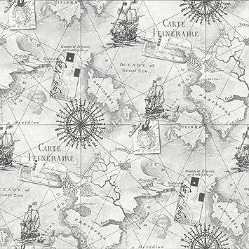 New Arthouse Navigator Vip Cartography Luxury Vintage Nautical Map Wallpaper Silver Grey