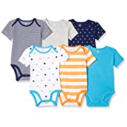 Amazon Essentials Baby 6-Pack Short-Sleeve Bodysuit, Uni Star Stripe Orange, 3-6M