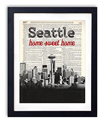 Seattle Home Sweet Home Vintage Upcycled Dictionary Art Print 8x10