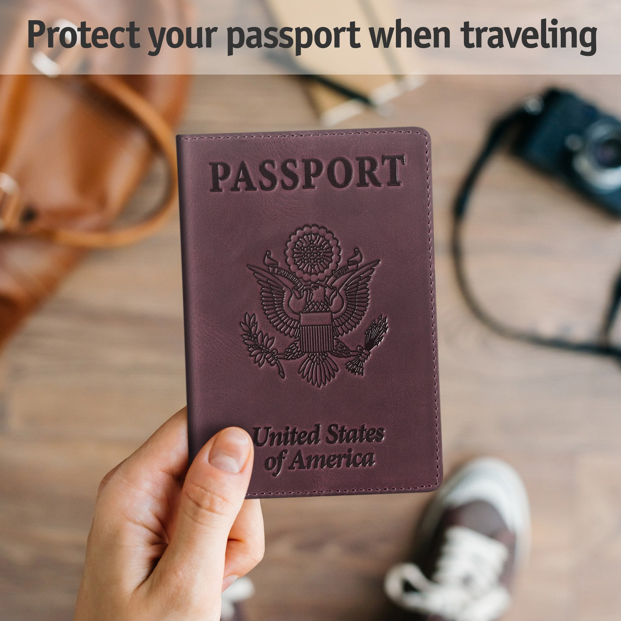 Shvigel Leather Passport Cover - Holder - for Men & Women - Passport Case (Maroon Vintage) by Shvigel (Image #6)