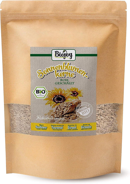 Biojoy Semillas de Girasol orgánicas, peladas, crudas y sin sal (1,5 kg)
