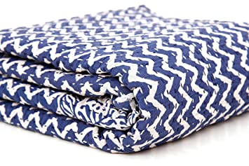 Indigo Blue Abstract Printed Kantha Double Coverlet Quilt Bed Cover Indigo Bedding Queen Kantha Quilt Bed Throw Coverlet Bedspread Bedding Blanket Gudri 108 X 90 Inch by Handicraft-Palace