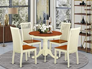 East West Furniture Kitchen table set- 4 Wonderful chairs for dining room - A Stunning dining room table- Wooden Seat and Buttermilk pedestal dining table