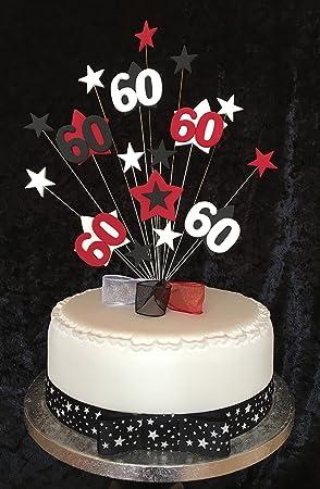Karens Cake Toppers Kuchendekoration Zum 60 Geburtstag Rot