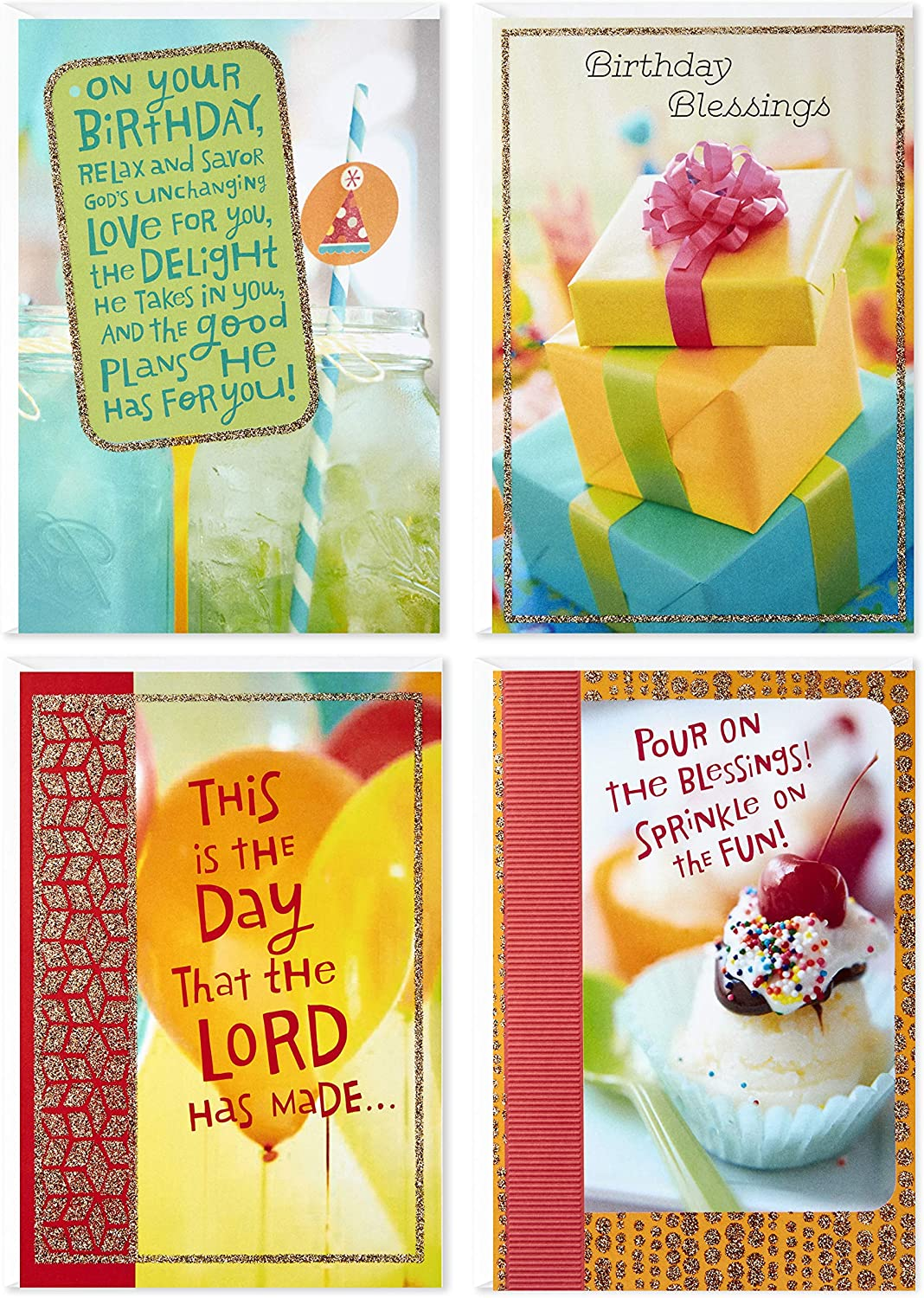 Hallmark Religious Birthday Cards (Christian Blessings, 4 Cards and  Envelopes), Dayspring Assortment (4DSI4)