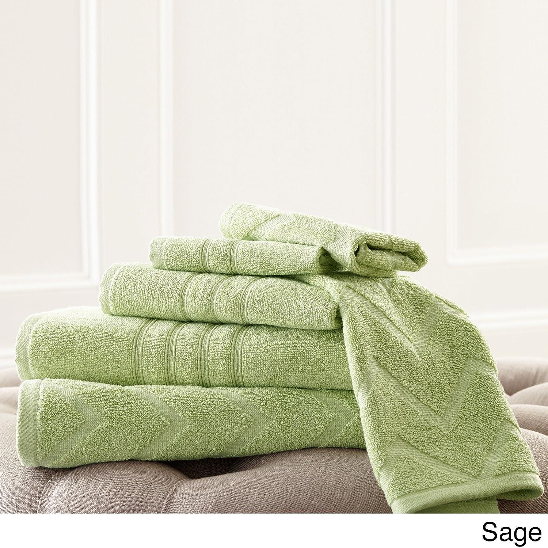f87b6ce831 color salvia Amrapur Overseas Inc 56CVRNTG Pacific Coast Textiles con punto  jacquard standard e motivo chevron set di 6 asciugamani ...