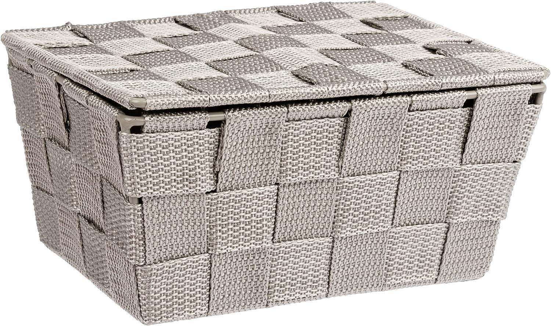 Polipropileno 18 x 6.5 x 10 cm Wenko Adria Organizador con Tapa Gris//Marr/ón