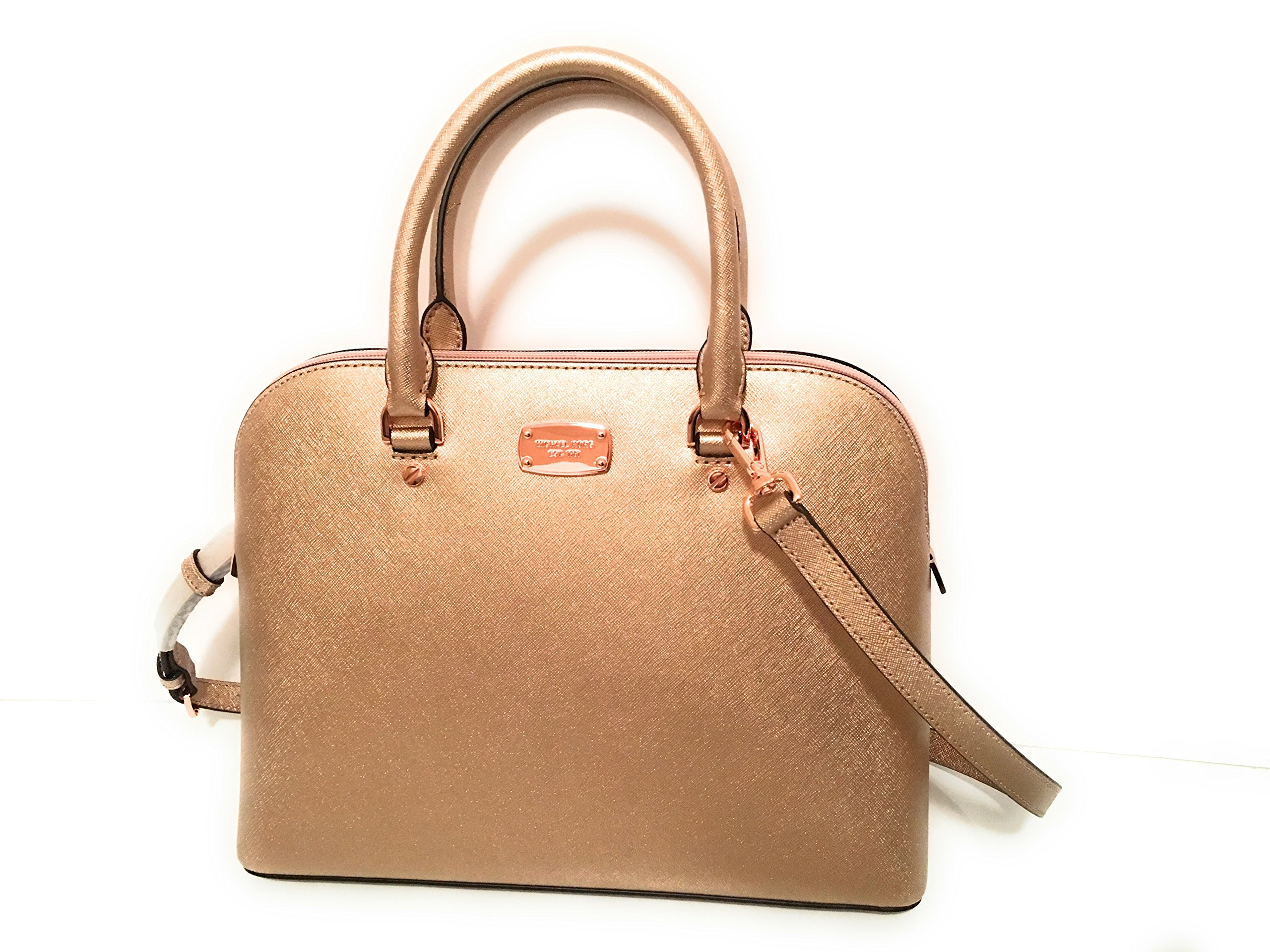 88d40a9a1802 Galleon - Michael Kors Cindy Large Dome Satchel Leather Rose Gold