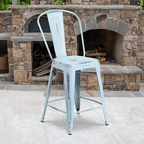 Flash Furniture Commercial Grade 4 Pack 24″ High Distressed Green-Blue Metal Indoor-Outdoor Counter Height Stool