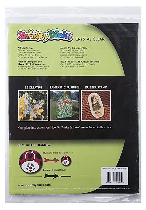 Amazon.com: Shrinky Dinks Creative Pack 10 Sheets Crystal Clear ...