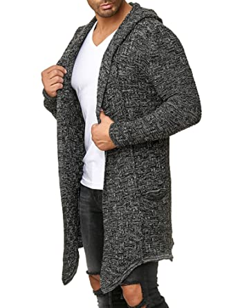 beliebt kaufen zeitloses Design super service Red Bridge Herren Strickjacke Übergangsjacke Cardigan Asymmetric Long Cut  Kapuze