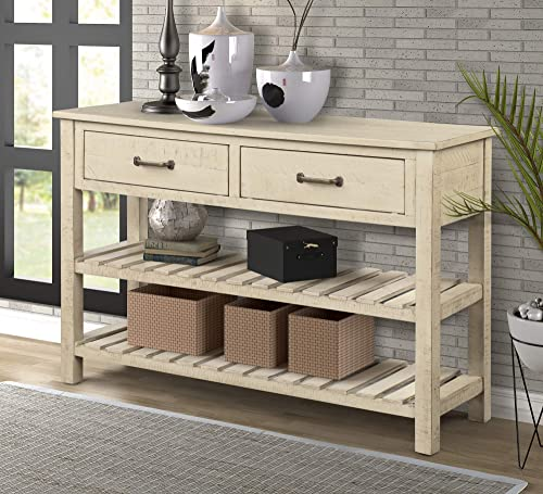 MERITLINE Side Table for Entryway Console Table with Storage Sofa Table Entryway Table with 2 Drawers and 2 Tiers Wood Shelf