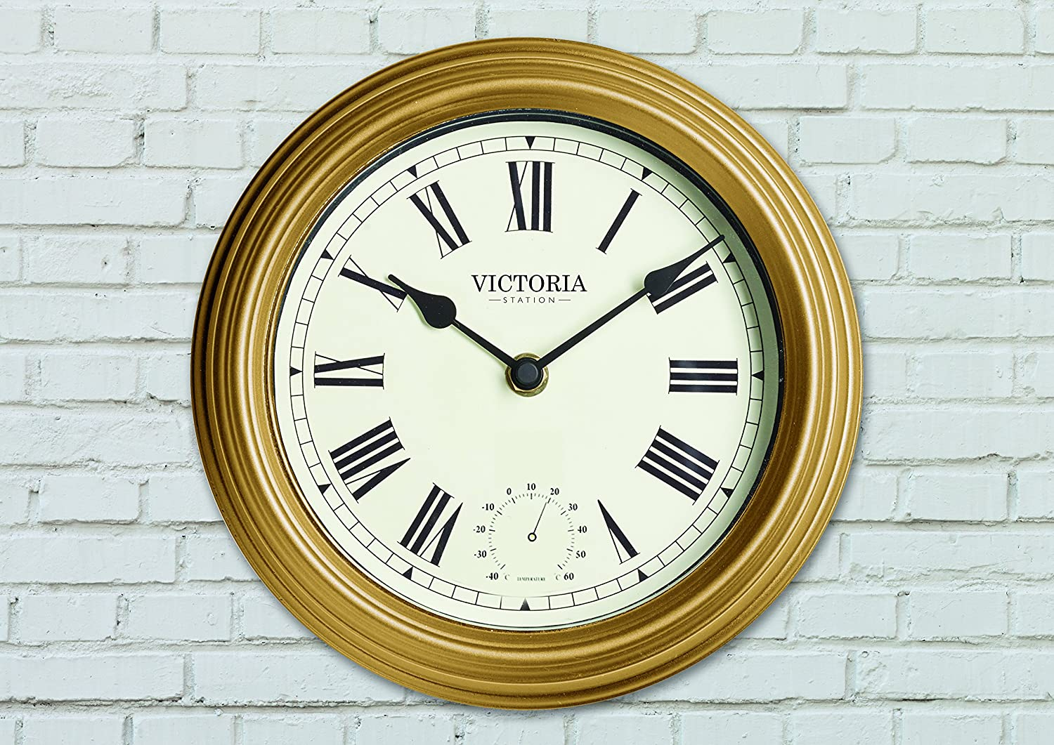 The Garden /& Home Co 7x22x22 cm The Victoria Station Clock Gold