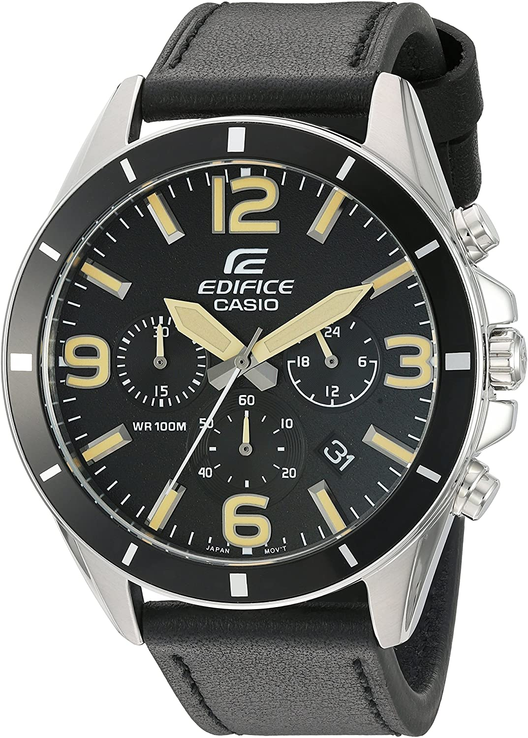 Casio Men s Edifice Quartz Stainless Steel and Leather Watch, Color Black Model EFR-553L-1BVCF