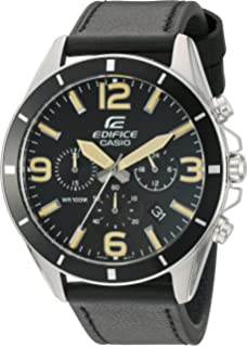 Casio Mens Edifice Quartz Stainless Steel and Leather Watch, Color:Black (