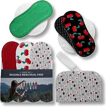 Compresas de tela reutilizables, pack de 6 compresas ecologicas de algodón puro con alas (de tamaños S y M) HECHAS EN LA UE, para menstruación, incontinencia; compresas lavables organico para mujer: Amazon.es:
