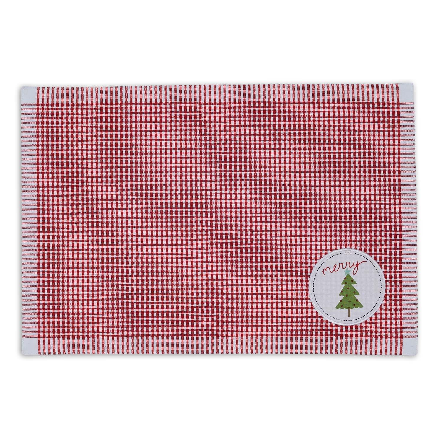 DII 100% Cotton, Printed Everyday Basic Placemats, Fused and Lined, 13x19'', Christmas Tree, Set of 6