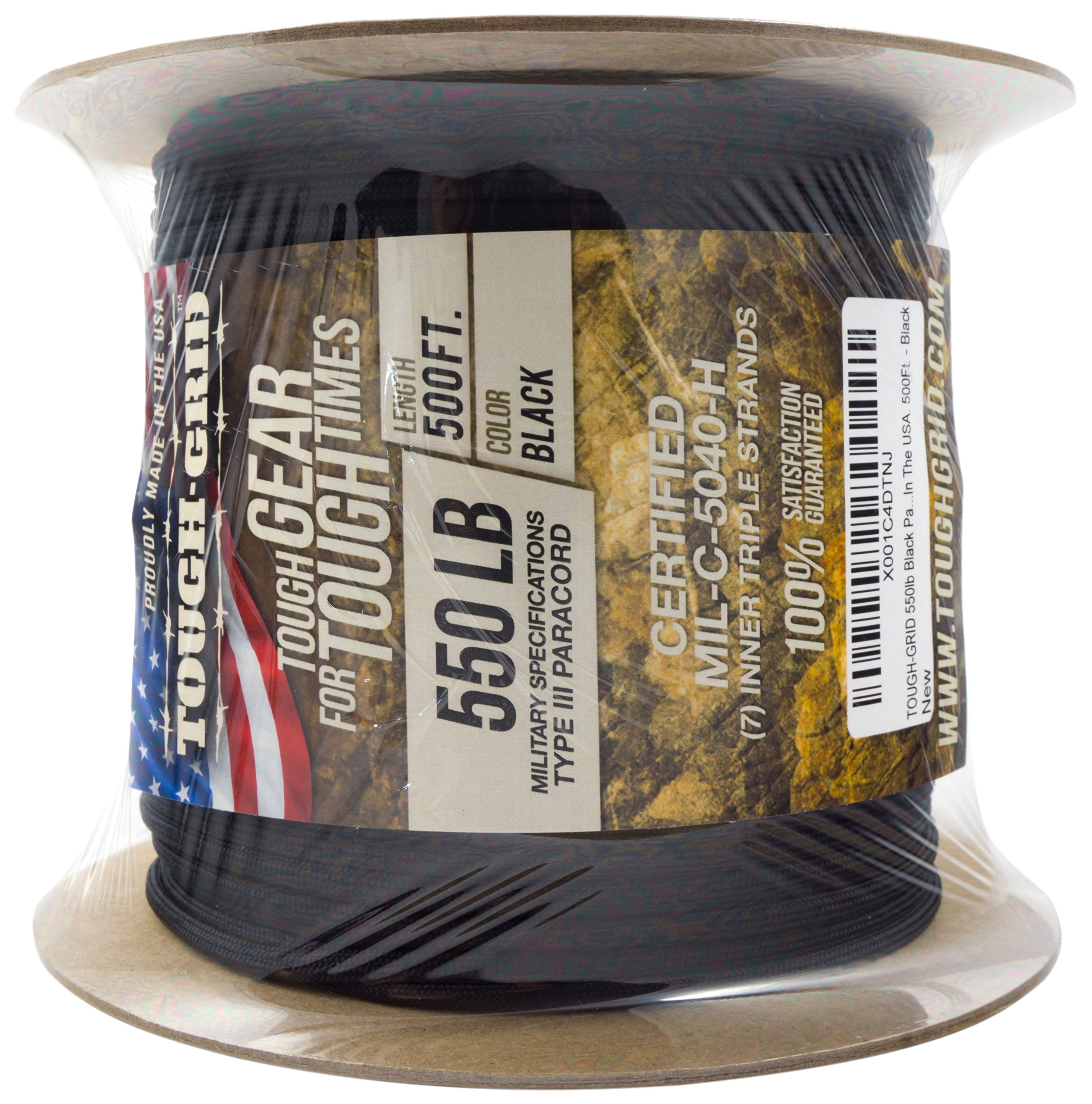 TOUGH-GRID 550lb Black Paracord/Parachute Cord - 100% Nylon Genuine Mil-Spec Type III Paracord Used by The US Military - Great for Bracelets and Lanyards - Made in The USA. 50Ft. - Black by TOUGH-GRID (Image #9)